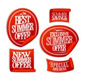 Best summer offer, new summer offer, exclusive and special offers, sale stickers Stock Photo