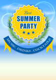 Best summer party yellow label Stock Photo