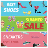 Best Summer Sale of Sneakers Sport Shoes Banners. Royalty Free Stock Photos