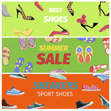 Best Summer Sale of Sneakers Sport Shoes Banners. Stock Photos