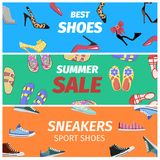Best Summer Sale of Sneakers Sport Shoes Banners. Stock Photo