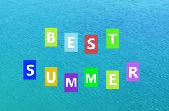 Best summer text on sea background Royalty Free Stock Images