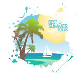 Best summer tours design in form of blot. Royalty Free Stock Images