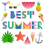 Best Summer. Trendy geometric font in Memphis style of 80s-90s. Text and elements isolated on a white background.  vector illustration