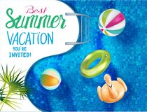 Best summer vacation banner with swimming pool. View above. Vector illustration Royalty Free Illustration