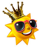 Best Sunny Vacation. Traveling concept with a smiling summer sun character wearing a gold crown with sunglasses as a happy glowing hot seasonal fun icon of vector illustration