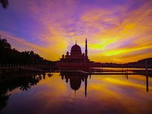The best sunrise reflection in Putra Mosque, Putrajaya stock image