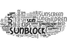 Best Sunscreen For Children Sunblocks Are Better For Childrenword Cloud Royalty Free Stock Photo