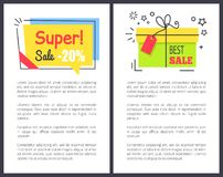 Best Super Sale with Gifts and Price Reduction. Promo poster with sample text, box with bow and small stars, and rectangular card vector illustration stock illustration