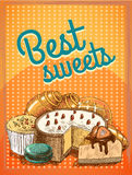 Best sweets pastry poster Royalty Free Stock Photos