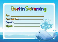 Best in swimming award template with whale in ocean Royalty Free Stock Image