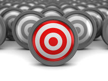 Best target. Abstract 3d illustration of one right target and many wrong Stock Image