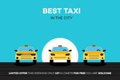 Best Taxi Cars In The City. Vector Illustration Stock Image