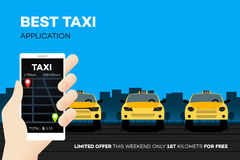 Best Taxi Mobile Application. Advertising Vector Illustration Royalty Free Stock Images
