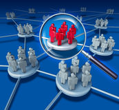 Best Team. Success communication network with the selected group in red on blue as business people working in partnership a connected networking selected teams Stock Image
