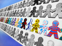 Best team concept. Best team work, its us! - A conceptual photograph of rows of block people representing teams, with only one team in colour while the rest are Royalty Free Stock Photo