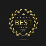 Best team label. Golden laurel wreath for sport or business team Stock Photo