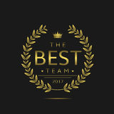 Best team label. Golden laurel wreath for sport or business team Stock Photography
