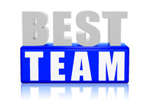 Best team - letters and block. 3d color letters and block with text - best team Stock Photography