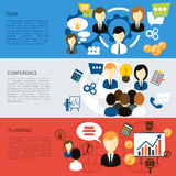Best team, planning company and conference. Flat design concept of best team, planning company, business and conference item icons on multicolor banners Royalty Free Stock Photography