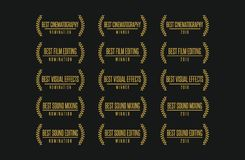 Best technical movie award winner vector logo set. Movie award technical nomination winner best cinematography visual effects sound editing vector logo icon set Royalty Free Stock Photo