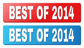 BEST OF 2014 Caption on Blue and Red Rectangle Buttons. BEST OF 2014 text on rounded rectangle buttons. Designed with white title with shadow and blue and red vector illustration