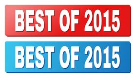 BEST OF 2015 Text on Blue and Red Rectangle Buttons. BEST OF 2015 text on rounded rectangle buttons. Designed with white title with shadow and blue and red Vector Illustration