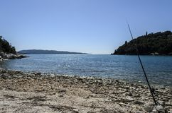 Fishing time somewhear in corfu Royalty Free Stock Photo