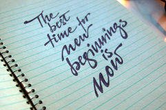 The best Time for New Beginnings is Now. Calligraphic background royalty free stock photography