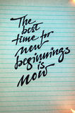 The best Time for New Beginnings is Now. Calligraphic background stock photo
