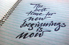 The best Time for New Beginnings is Now calligraphic background Stock Images