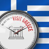 The Best Time for Visit Greece. White Vector Clock with Slogan. Greek Flag Background. Analog Watch. Parthenon Icon royalty free illustration