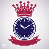 Best timing award vector eps8 icon, luxury wall clock with an ho. Ur hand on dial. High quality timer illustration with curvy decorative ribbon and royal crown Royalty Free Stock Photo