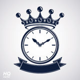 Best timing award vector eps8 icon, luxury wall clock with an ho. Ur hand on dial. High quality timer illustration with curvy decorative ribbon and royal crown Stock Images