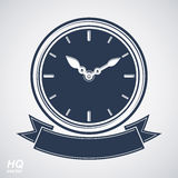 Best timing vector eps8 icon, wall clock with an hour hand on di. Al. High quality timer illustration with curvy decorative ribbon. Business planning conceptual Stock Images