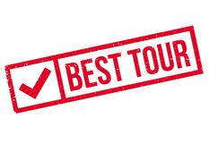 Best Tour rubber stamp. Grunge design with dust scratches. Effects can be easily removed for a clean, crisp look. Color is easily changed Stock Image
