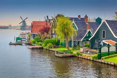 Fabulous touristic village Zaanse Schans, near Amsterdam, Netherlands, Europe. The best touristic village Zaanse Schans with colorful houses,gardens and old royalty free stock photos