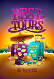 Best tours poster with big suitcases, hat, sunglasses, , compass and camera, against summer sunset beach  backdrop Royalty Free Stock Photos
