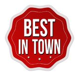 Best in town label or sticker. On white background, vector illustration Royalty Free Stock Images