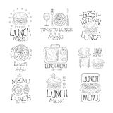 Best In Town Lunch Menu Set Of Hand Drawn Black And White Sign Design Templates With Calligraphic Text Royalty Free Stock Images