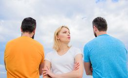 Best traits of great boyfriend. Girl thinking whom she going ask dating. Everything you need to know about choosing. Right guy. Girl stand in front two faceless royalty free stock images