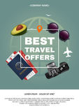Best travel offer a4 concept. Text and square frame on the background of the attributes of tourism. Applicable for Stock Images