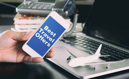 Best travel offer on smartphone for business Royalty Free Stock Photo