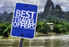 Best Travel Offers sign with a forest background Stock Images