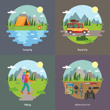 Best trips and camping for unforgettable journey 4 flat square icons Stock Photos
