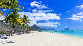 Best tropical beaches. Flic en Flac in Mauritius island royalty free stock images