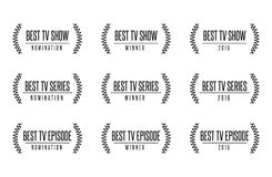 Best tv show series award nomintaion vector illustration. Movie award best tv show series nomination. Laurel vector logo icon set Stock Photography