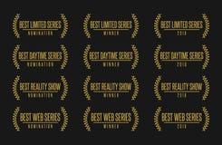 Best tv show series genre nomination award vector illustration. Movie award best tv show series nomination. Laurel vector logo icon set Stock Photo