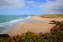Best uk beaches Perranporth north Cornwall England UK rich colours Royalty Free Stock Photography