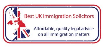 Best UK immigration solicitors. Label for print, Great Britain`s map and flag included. Best UK immigration solicitors. Affordable, quality legal advice on all vector illustration